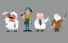 4款卡通职业人物素材图片