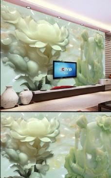 白玉兰花玉雕背景墙