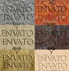 石材和金属纹理立体字和凹陷字PS样式