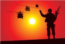 士兵和直升机剪影矢量图