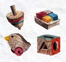 木制玩具设计矢量图.