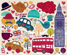 时尚伦敦插画设计