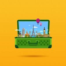 行李箱旅游观景矢量素材