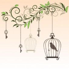 艺术时尚的鸟笼插画