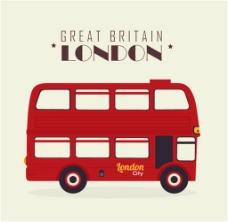 卡通红色伦敦双层巴士