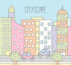 卡通线稿城市素材