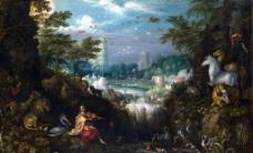 油画人物风景图片