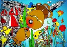儿童画海底世界图片