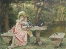 油画情侣图片