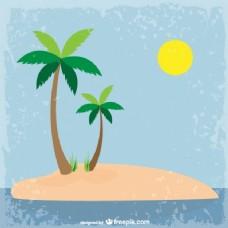 脏东西岛背景的棕榈树