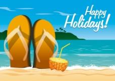 海滩背景鞋子素材