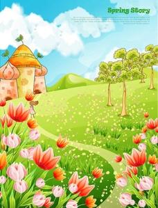 春天绿色鲜花梦幻城堡图片