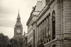 伦敦大本钟黑白照片