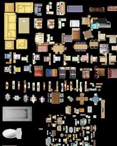 个人收藏室内彩色平面图素材图片