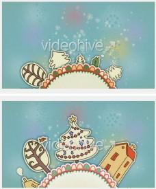 圣诞节卡通动画ae片头模板