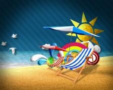 海边沙滩动画片头AE片头AE模板