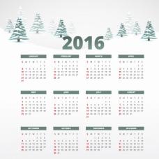 雪2016日历模板