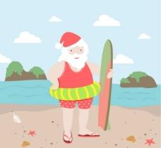 海边度假的圣诞老人矢量素材下载