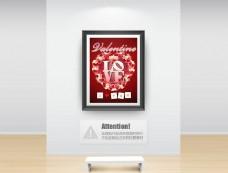 玫瑰花環情人節海報設計PSD素材