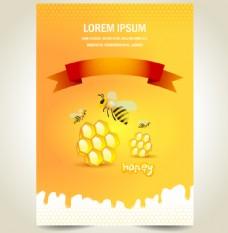 蜜蜂与蜂蜜海报设计矢量素材下载