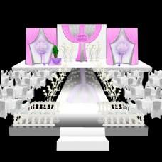 粉紫色婚礼主舞台