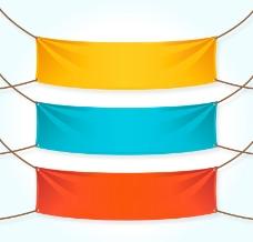 3款彩色条幅设计矢量素材