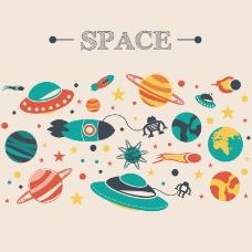 卡通太空冒险矢量素材