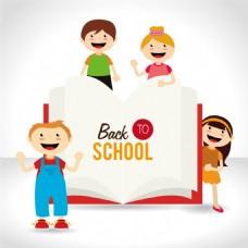 返校孩子与书本矢量素材