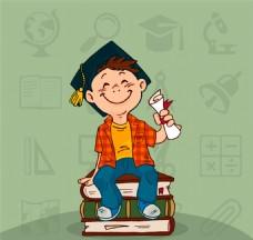 戴博士帽的男孩矢量素材