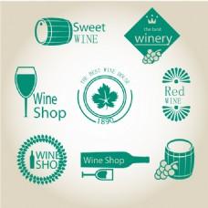 绿色葡萄酒标签矢量素材