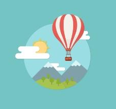 创意热气球与风景矢量素材