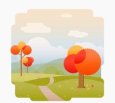 秋天卡通树叶素材背景