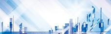 现代城市商业楼盘剪影背景banner