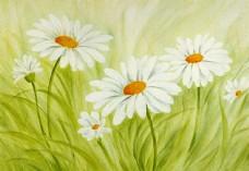 花背景油画