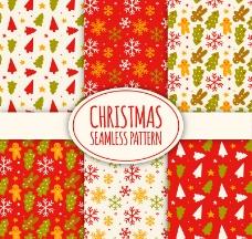 6款彩色圣诞元素无缝背景矢量图