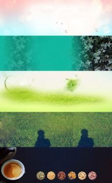 草坪上的人物剪影
