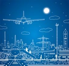 机场 城市 线稿图片