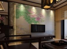 背景墙设计尚佳品革中式经典江南早春