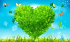 绿色树叶心形背景墙 绿意盎然