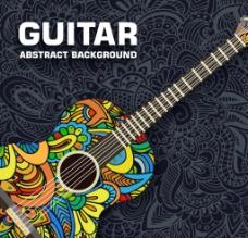 创意花纹吉他矢量图片