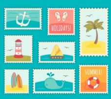 清新夏季邮票图片