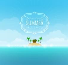 夏季沙滩岛屿矢量素材