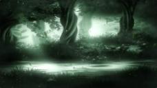 幻想树枝树叶飘落动态视频