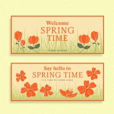 你好春天花朵促销海报设计