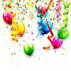 彩色气球和碎纸屑矢量素材图片