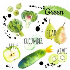水彩绘绿色水果