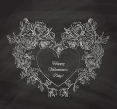 粉笔绘玫瑰爱心矢量素材