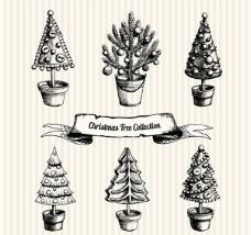 手绘圣诞树盆栽矢量素材下载