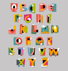 26个字母艺术字矢量