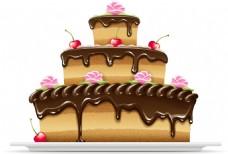 美味的巧克力蛋糕插画